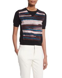 Creatures of the Wind - Black Chiffon-striped Crewneck Sweater - Lyst