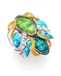 Alexis Bittar | Metallic Elements Cholulian Turquoise & Chrysocolla Olmeca Statement Cuff Bracelet | Lyst