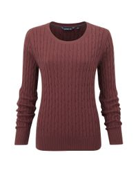 Henri Lloyd | Brown Beatrice Cable Crew Neck Knit | Lyst