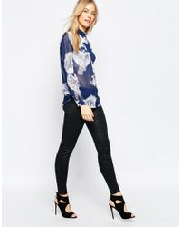 Ganni | Blue Estate Flower Georgette Shirt | Lyst