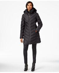 Calvin Klein | Gray A-line Chevron Puffer Coat | Lyst