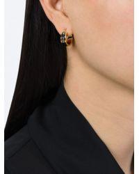 Marc By Marc Jacobs | Black Enamel Logo Mini Hoop Earrings | Lyst