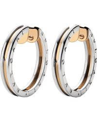 BVLGARI | B.zero1 18ct Pink-gold And Stainless Steel Earrings | Lyst