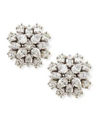 Paul Morelli | 18K White Gold Diamond Cluster Stud Earrings | Lyst