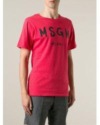 MSGM - Red Logo Print T-Shirt for Men - Lyst