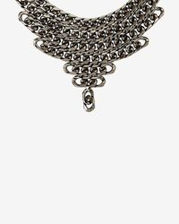 Fallon | Black Gunmetal Biker Chain Bib Necklace | Lyst