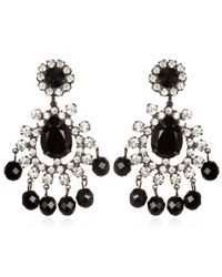 Kenneth Jay Lane | Crystal And Black Chandelier Earrings | Lyst