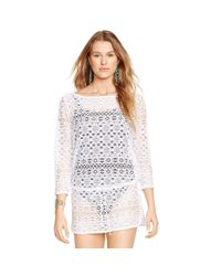 Polo Ralph Lauren - White Crocheted Tunic - Lyst