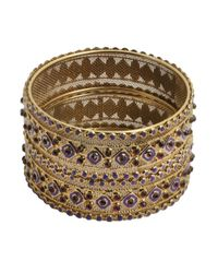 Chamak by Priya Kakkar - Metallic Set Of 2 - Gold And Crystal Bangles - Lyst