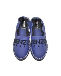 KENZO - Blue Gommato Leather Platform Slippers - Lyst