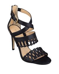 Ivanka Trump | Black Drita Leather Stiletto Sandals | Lyst