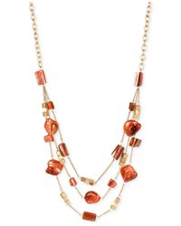 Kenneth Cole | Orange Gold-tone Mixed Shell Bead Illusion Necklace | Lyst