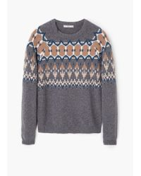 Mango | Multicolor Jacquard Wool Sweater for Men | Lyst