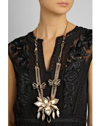 Roberto Cavalli - Metallic Lotus Flower Gold-Plated, Enamel And Swarovski Crystal Necklace - Lyst