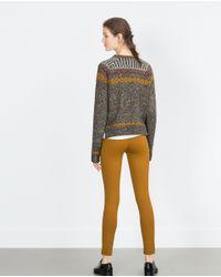 Zara | Brown Basic Zipped Leggings | Lyst