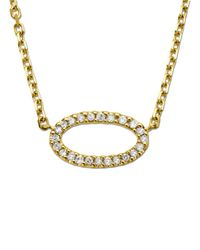 Lord & Taylor | Metallic 14kt. Yellow Gold And Diamond Oval Pendant Necklace | Lyst