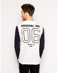 ASOS - Black Long Sleeve T-Shirt With Baseball Button Through And Back Print for Men - Lyst