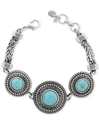 Lucky Brand - Blue Silver-tone Reconstituted Turquoise Frontal Necklace - Lyst