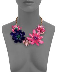 Erickson Beamon | Pink Floral Statement Necklace | Lyst