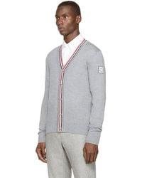 Moncler Gamme Bleu - Gray Grey Tricolor Trim Cardigan for Men - Lyst