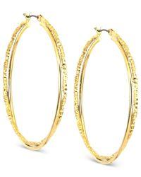 Anne Klein | Metallic Gold-tone Twist Medium Hoop Earrings | Lyst