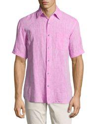 Neiman Marcus | Purple Short-sleeve Linen Chambray Shirt for Men | Lyst