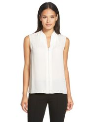 Elie Tahari | White 'judith' Sleeveless Silk Asymmetrical Hem Blouse | Lyst
