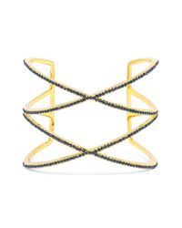 BaubleBar | Blue 'double Helix' Pave Cuff - Navy/ Gold | Lyst