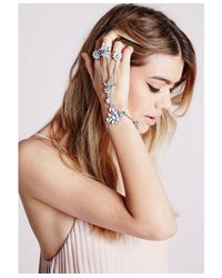 Missguided - Metallic Statement Triple Ring Hand Chain Silver - Lyst