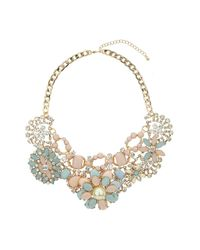 TOPSHOP - Multicolor Premium Pastel Flower Necklace - Lyst