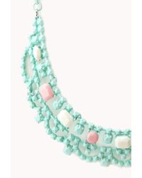 Forever 21 - Green Sweet Statement Bib Necklace - Lyst