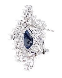 CZ by Kenneth Jay Lane | Blue Oval Cubic Zirconia Wreath Earrings | Lyst