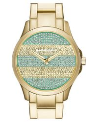 Armani Exchange - Metallic Pave Stripe Dial Watch - Lyst