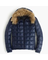 J.Crew - Blue Short Quilted Puffer Jacket With Faux-fur Hood - Lyst