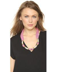 Holst + Lee | Herringbone Color Block Necklace - Hot Pink | Lyst