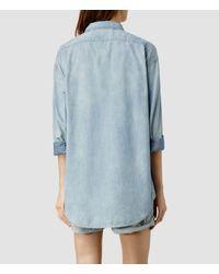 AllSaints - Blue Boys Shirt / Indigo Patch - Lyst