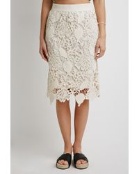 Forever 21 | Natural Contemporary Embroidered Crochet Pencil Skirt | Lyst