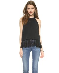 OTTE New York   Layered Lace Halter Blouse - Black   Lyst