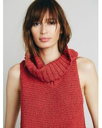 Free People | Red Womens Whitehorse Mock Neck Sweater | Lyst