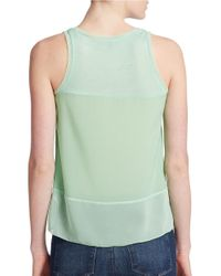 French Connection | Green Sheer Detail Tank Top | Lyst
