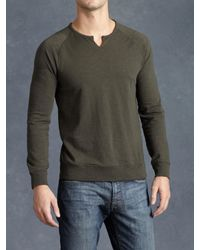 John Varvatos - Green Cotton Raglan Sweatshirt for Men - Lyst