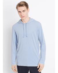 VINCE | Blue Double Layer Cotton Hoodie for Men | Lyst