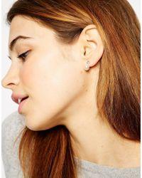 ASOS - White Faux Pearl Crystal Swing Earrings - Lyst