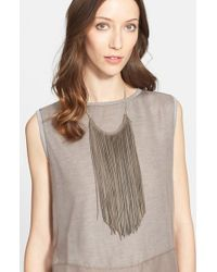 Fabiana Filippi | Metallic Leather Fringe Necklace - Metal | Lyst