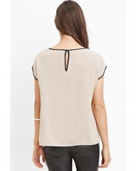 Forever 21 - Natural Contrast-trimmed Top - Lyst