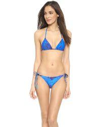 Proenza Schouler | Classic Splash Print Triangle Bikini - Sky Blue | Lyst