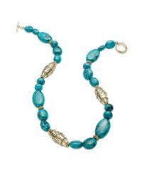 Lauren by Ralph Lauren - Metallic Worn Goldtone Reconstituted Turquoise Textured Bead Necklace - Lyst