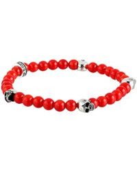 King Baby Studio | 6Mm Red Coral Bead Bracelet W/ 4 Skulls | Lyst