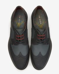 Ted Baker | Blue Rubberised Leather Brogues for Men | Lyst