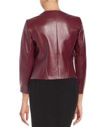 Tahari - Purple Faux Leather Open-front Jacket - Lyst